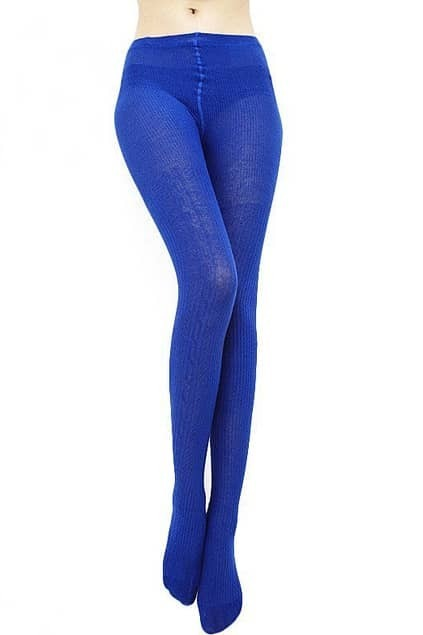Striped Jacquard Weave Dark Blue Tights