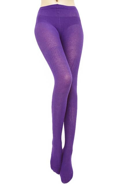 Striped Jacquard Weave Purple Tights