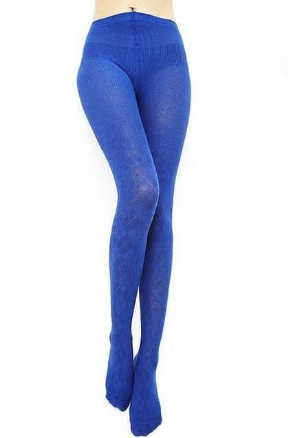 Rhombic Grain Dark Blue Tights