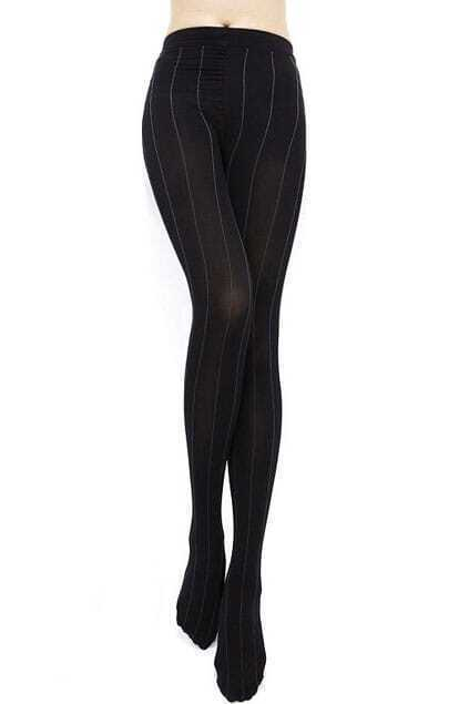 Contrast Vertical Striped Black Tights