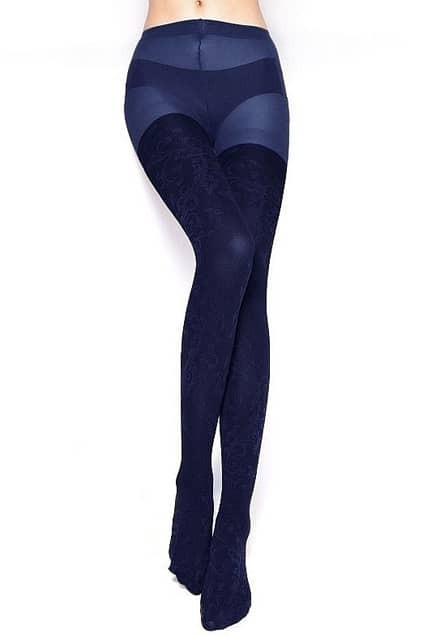 Retro Carved Patterns Dark Blue Tights