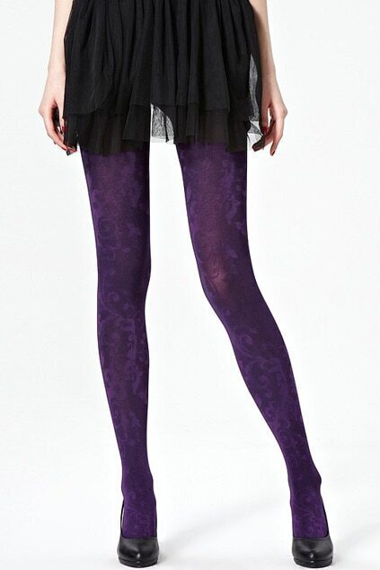 Retro Carved Patterns Fuchsia Tights