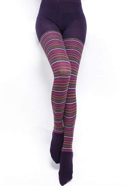 Colorful Striped Light Purple Tights