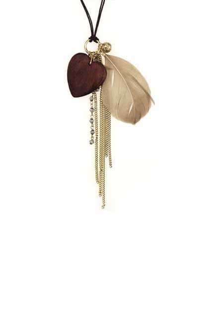 Feather And Love Tassel Necklace