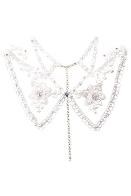 Beaded Lace Sheer Collar