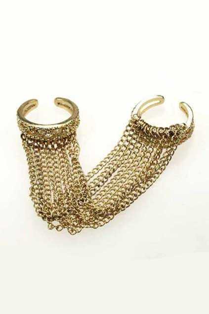 Golden Tassel Double Finger Ring