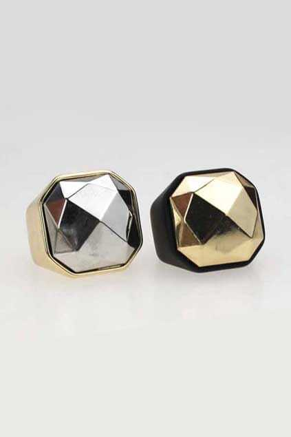 Faceted Surface Metal Ring