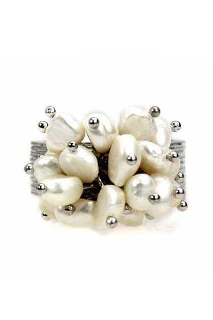 Pearls Flower Silver Ring