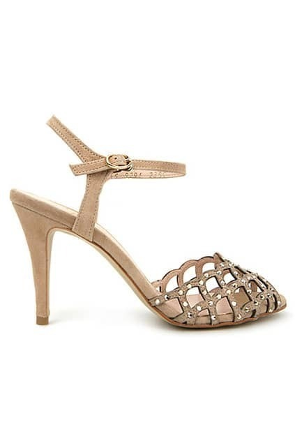 Hollow Peep Nude Sandal