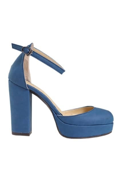 Platform Chunky Heel Blue Shoes
