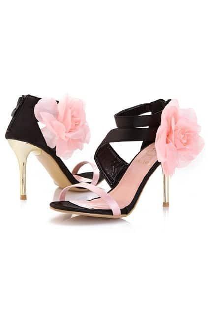 Hollow Flower Embellished Pink Sandal