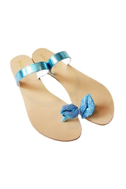 Lip Diamante Sky-blue Slippers