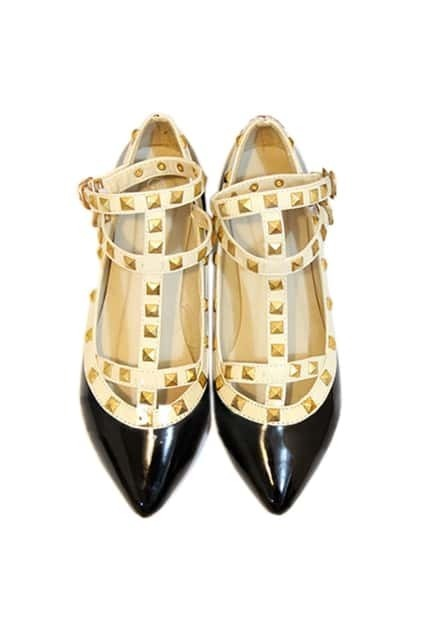Rivets Embellished Flat Heel Black Sandal