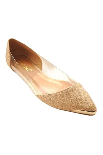 Pointed Toes Transparent Golden Shoes