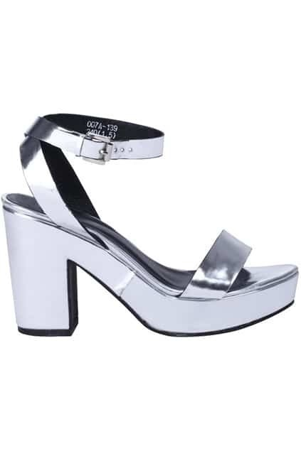 Silver-tone Strappy Platform Sandals