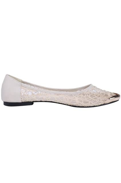 All-over Lace Cream Flat Shoes