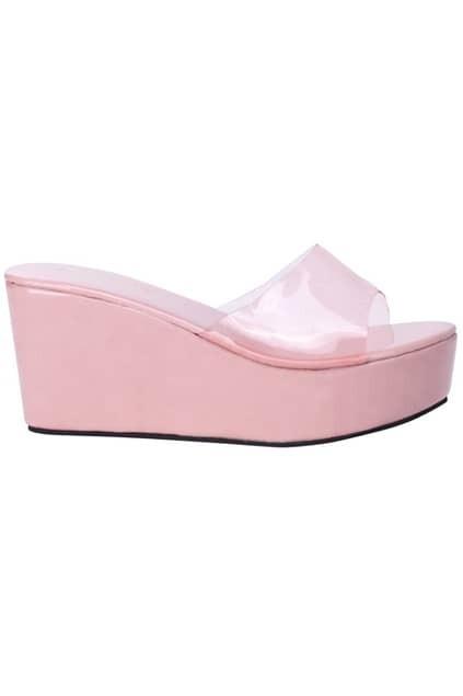 Sheer Strapped Pink Platform Sandals