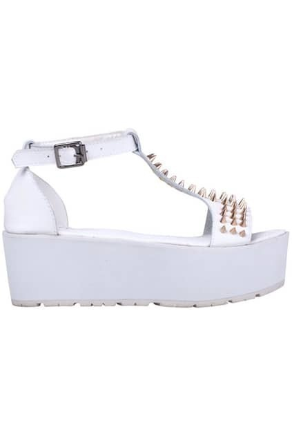 Gold Rivet White Platform Sandals