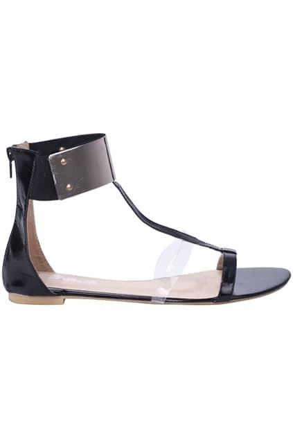 Metallic Strappy Black Flat Sandals