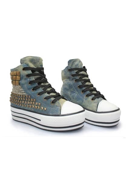 Rivets Blue Flatform Trainers
