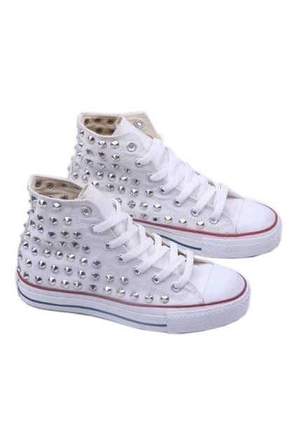 Rivets White Canvas Shoes