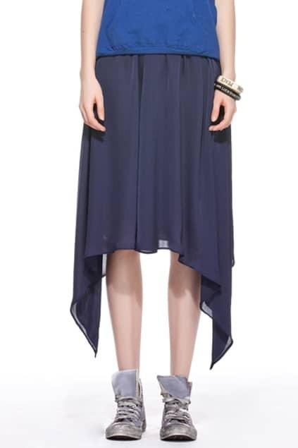 Anomalous Chiffon Navy Skirt