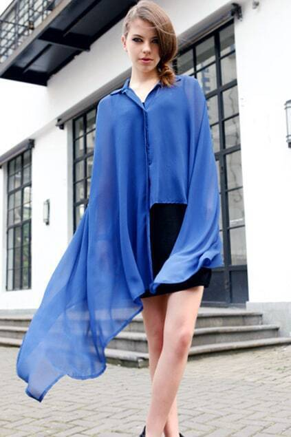 Asymmetric Caped Blue Shirt