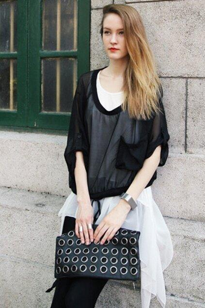 Cropped Sleeve Oversized Black Blouse