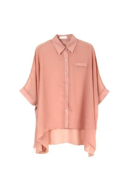 Batwing-sleeve Oversized Nude-pink Shirt