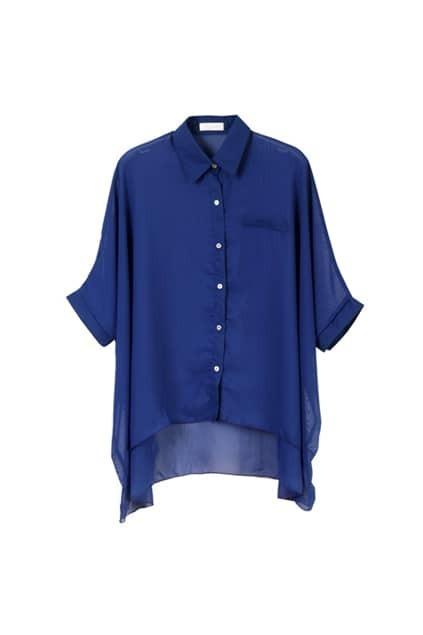 Batwing-sleeve Oversized Royalblue Shirt