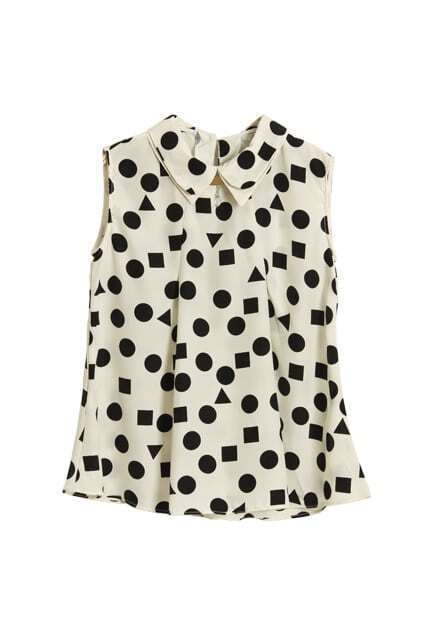 With Necklace Dots Printed White Blouse