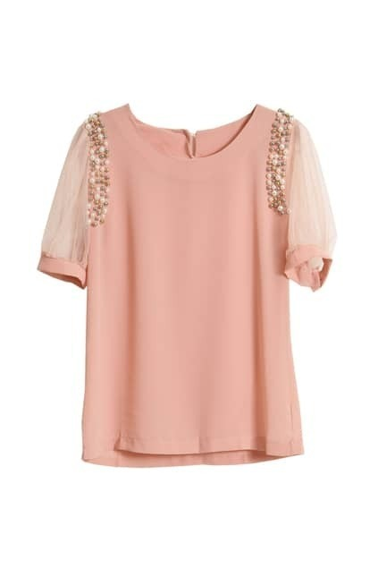 Pearls Embellishment Pink Blouse