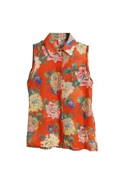Flower Printed Orange Chiffon Blouse