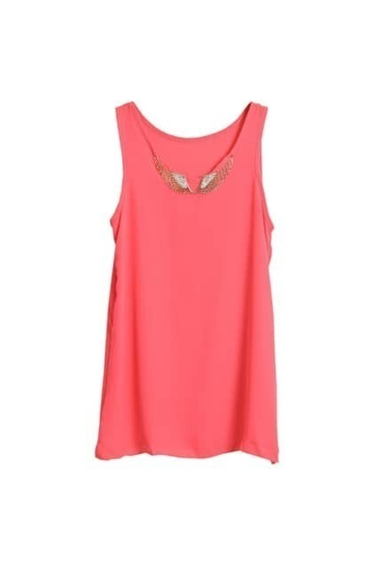 Metal Wings Embellishment Watermelon-red Pink Vest