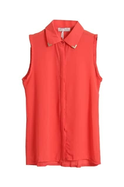 Metal Point Lapel Red Chiffon Blouse