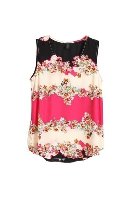 Flower Printed Rose Chiffon Shirt