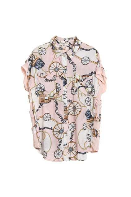 Chains Printed Pink Chiffon Shirt