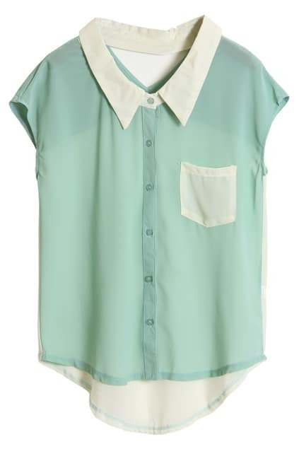 Hollowed Back Light Green Chiffon Shirt