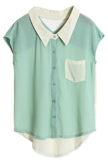 Hollowed Back Light Green Chiffon Shirt