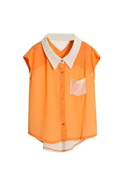 Hollowed Back Orange Chiffon Shirt