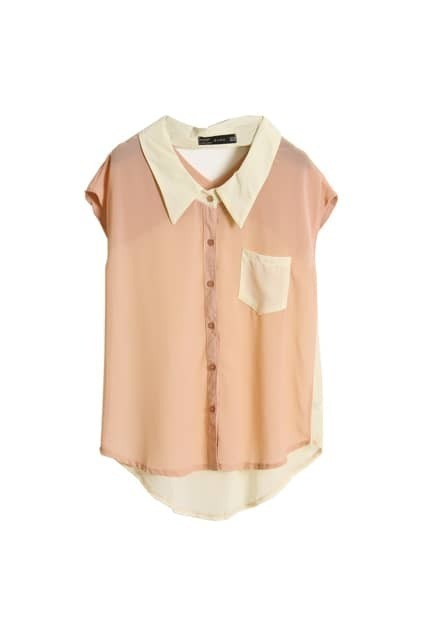 Hollowed Back Light Pink Chiffon Shirt