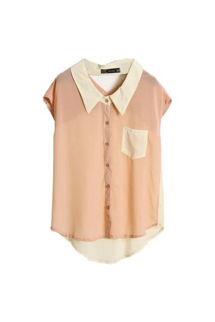 Hollowed Back Light Pink Chiffon Shirt