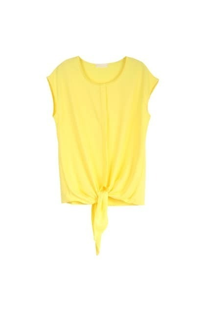 Self-tie Front Yellow Blouse