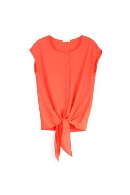 Self-tie Front Orange Blouse