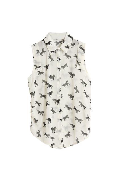 Little Horse Printed White Shirt
