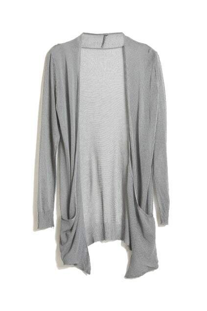 Knitted Opening Grey Cardigan