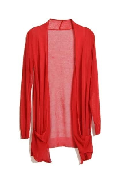 Knitted Opening Red Cardigan