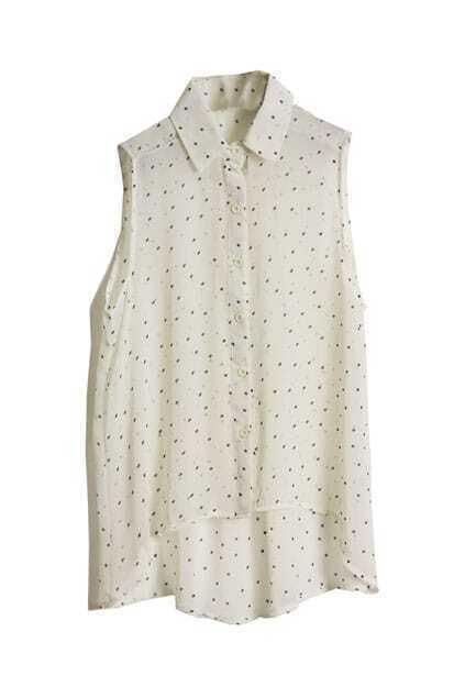 Dots Printed White Chiffon Shirt