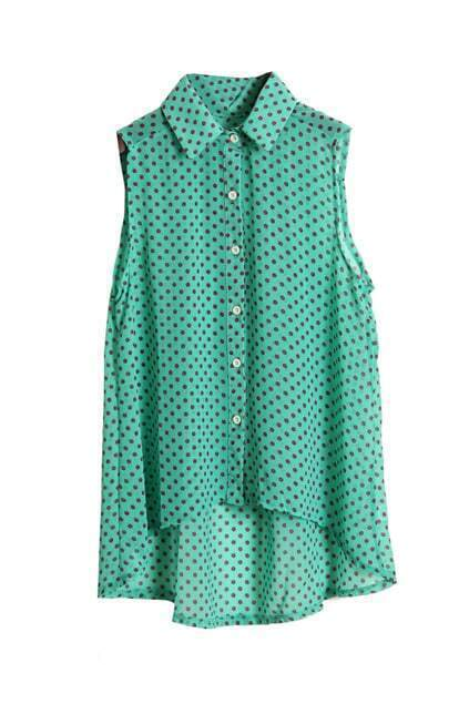 Dots Printed Green Chiffon Shirt