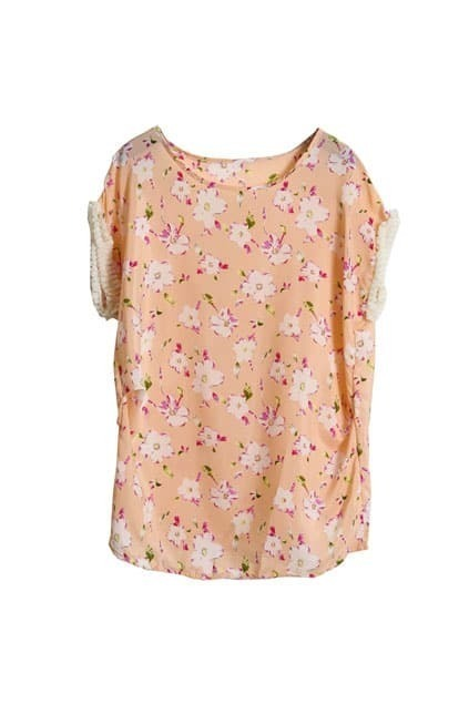 Floral Printed Pink Chiffon Blouse